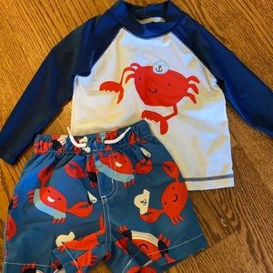 Carter's Swimming Trunks and Rash Guard 18 months